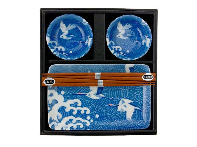 White Cranes Design Sushi Set for Two