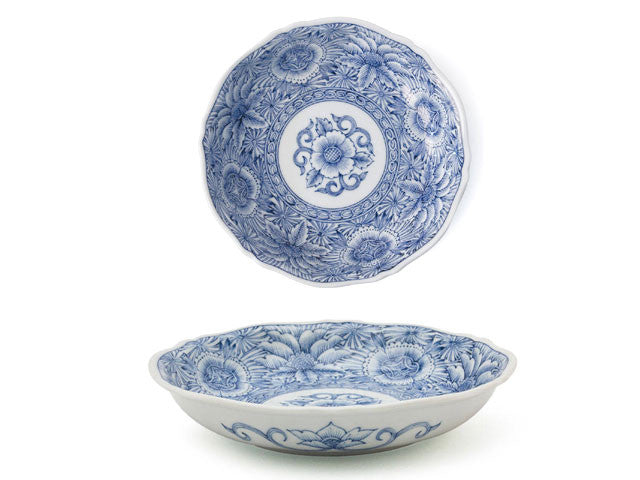 "6.75"" Blue on White Design Dessert Dish"