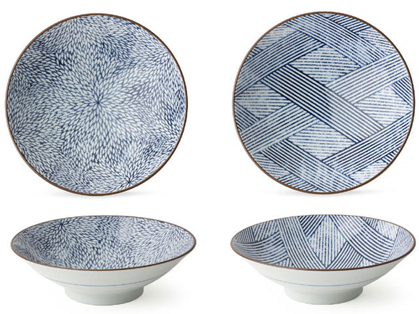 "9.75"" Blue on White Design Serving Bowl"
