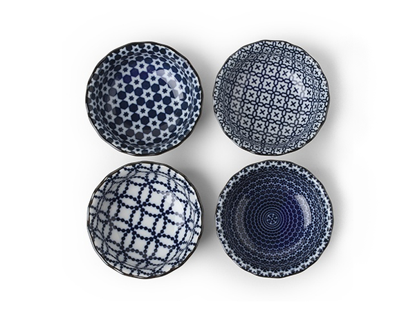 "Item: MIY-J4130  Blue and white is the new neutral. These small 3.75"" sauce bowls are not only great for soy sauce but they are perfect for holding tea bags, jewelry, votive candles, spices/salt for your mise en place, whatever you want! Assorted patterns to bring beautiful variety to your life. This Japanese bowl set includes four bowls packaged in a black gift box.  3.75"" diameter x 1.5""h. Ceramic. Microwave, dishwasher safe. Made in Japan."