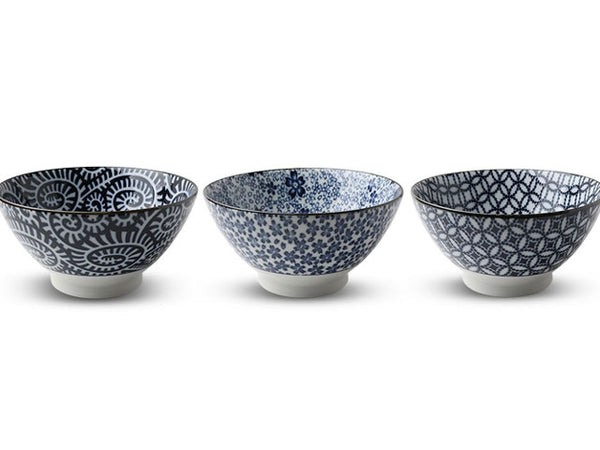 Blue on White Classic Pattern Noodle Bowl - 7 in.