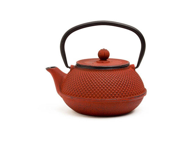 Red Hobnail Texture Cast Iron Teapot