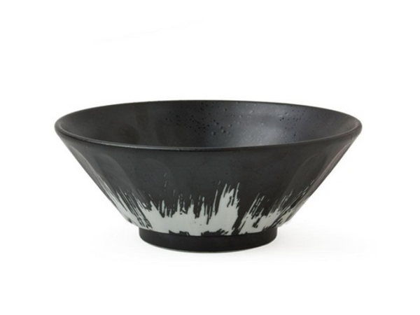 "MIY-J3721  Great noodle bowl with a beautiful black and white glaze. Perfect bowl for ramen, noodles, soup, pasta, salads, fruit, etc.  7.75"" diameter x 3""h Microwave, dishwasher safe Made in Japan"