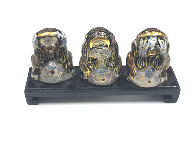 Cloisonne No Evil Monkeys with Stand