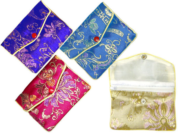 Golden Floral Brocade Purse with Zipper