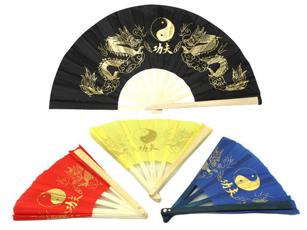 Golden Double Dragon & Yin Yang Fabric Fan - 13in.