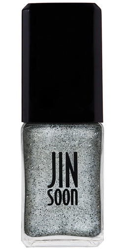 Bottle of shiny silver nail polish