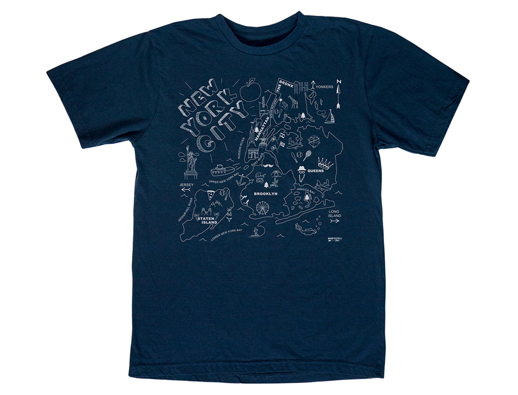 Maptote New York City Adult Tee Shirt Navy