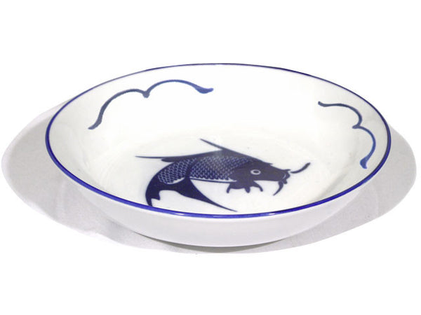 Vintage handcrafted blue fish deep plate with cobalt blue rim