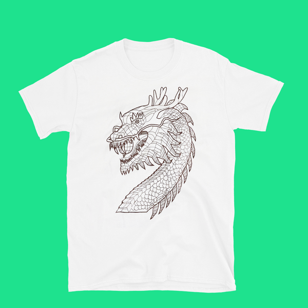 Front of white T-shirt with modern dragon design