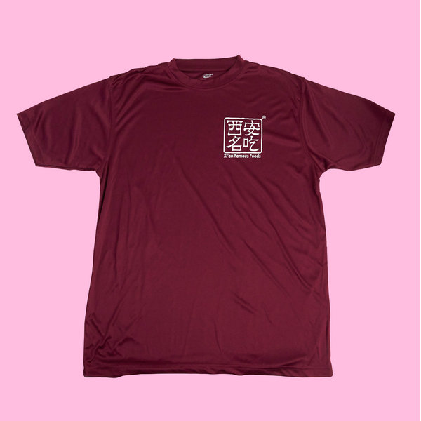 Burgundy T-shirt with Xi'An Famous Foods logo