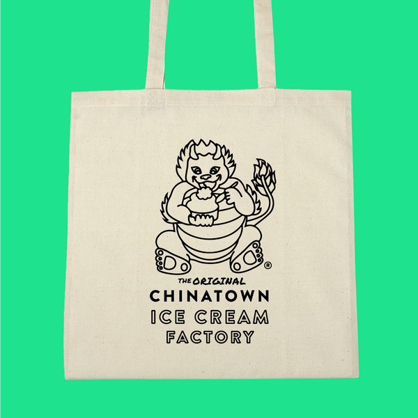 Chinatown Ice Cream Factory tote bag with dragon eating ice cream