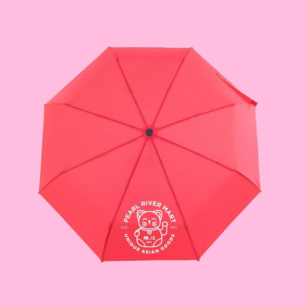 Red umbrella with Pearl River lucky cat in white