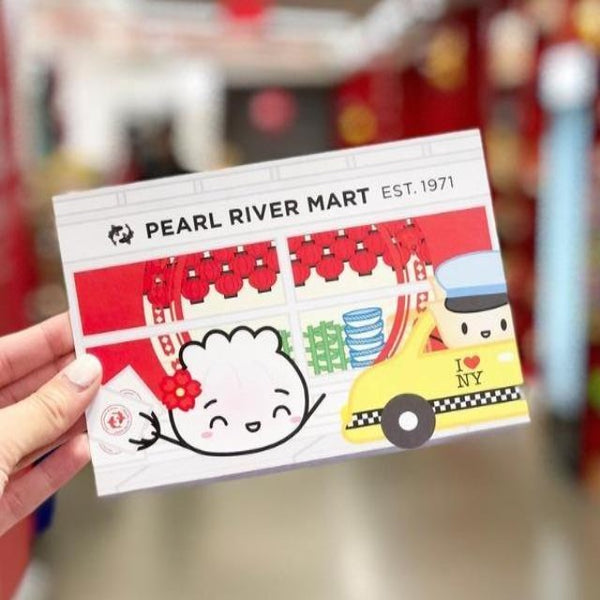 Postcard of cute wonton in from of Pearl River Mart store