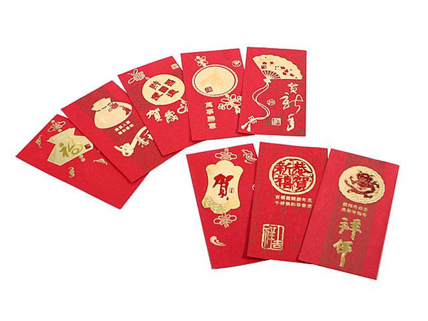 Extra long lucky red envelopes in a variety of gold foil designs