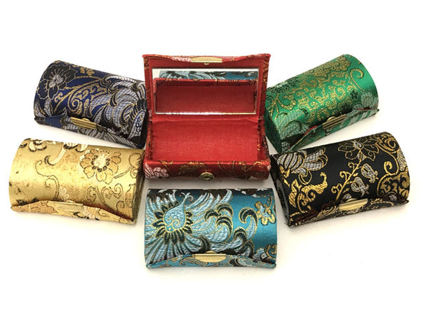 Brocade Lipstick Case w. Mirror (Hold 2 Lipsticks)