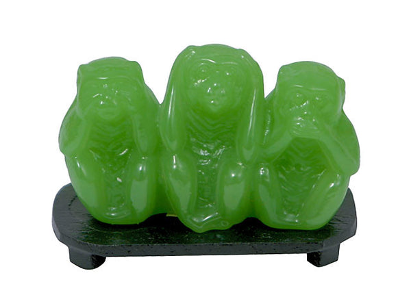 Jade Glass No Evil Monkeys with stand