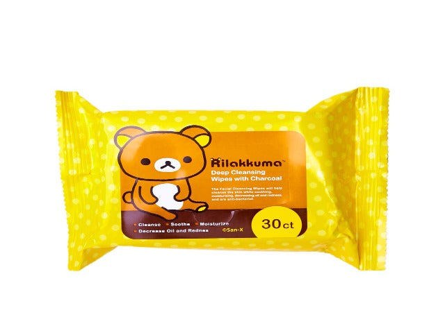 Rilakkuma Deep Cleansing Wipes with Charcoal and Rose Extract