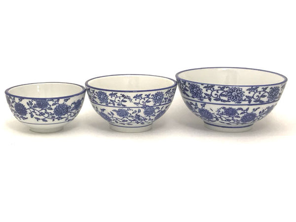 "Blue Lotus & Vine Pattern Bowl in 3 sizes: 3.75""; 4.5""; 5"""