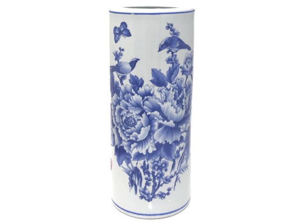 Birds & Butterfly Floral Cylinder Vase / Umbrella Holder