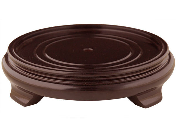 Round Wooden Vase Stand with Center Hold - Brown