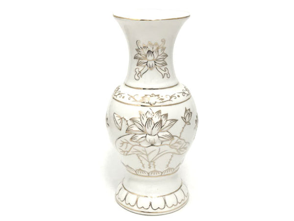 Golden Relieve Lotus Design Vase - White