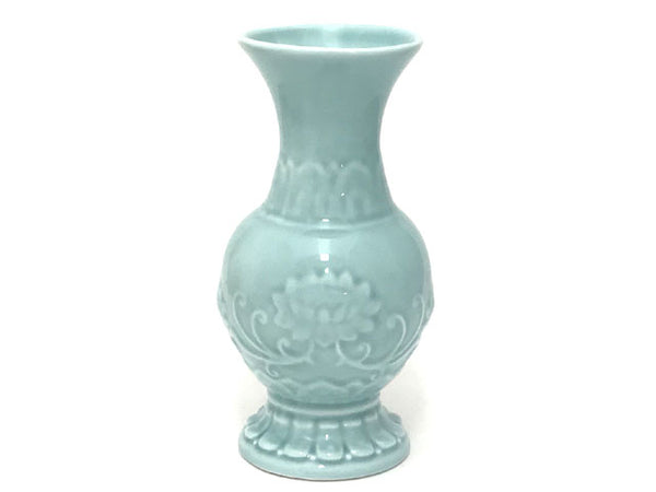 Relieve Lotus Design Vase - Celadon Blue
