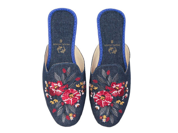 Denim Flower Embroidered Mule
