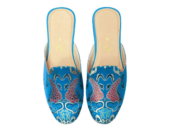 Double Fish Brocade Fabric Mule