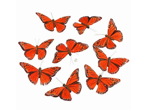 Monarch Feather Butterfly Garland - Orange