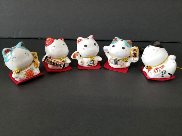Mini Ceramic Lucky Cat - 2""