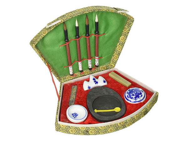 Chinese Calligraphy Set - Fan Shape Brocade Box