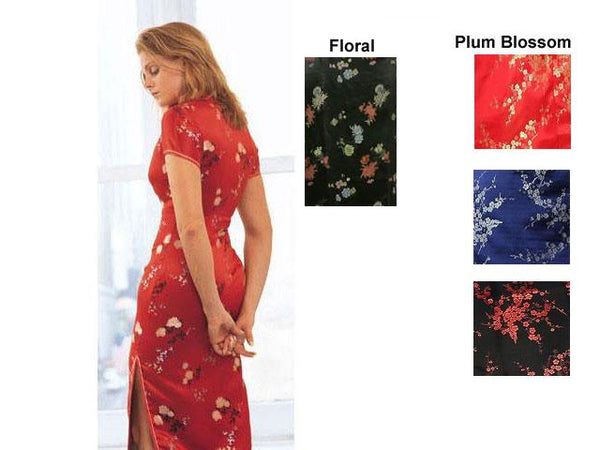 Back view of Red short-sleeved Brocade Mandarin Dress-Ankle Length with floral pattern, plus samples of other colors