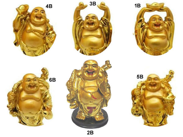 "Golden Laughing Buddha Statue on Black Stand (4"" H)"