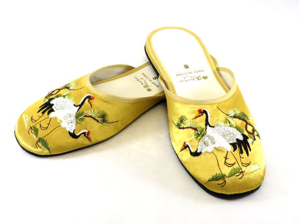 Crane Embroidery Satin Slippers - Available in July 2019