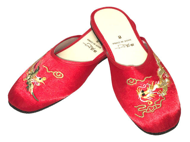 Satin Slippers w. Dragon & Phoenix Embroidery