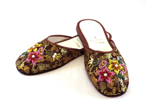 Beaded Floral Brocade Slipper