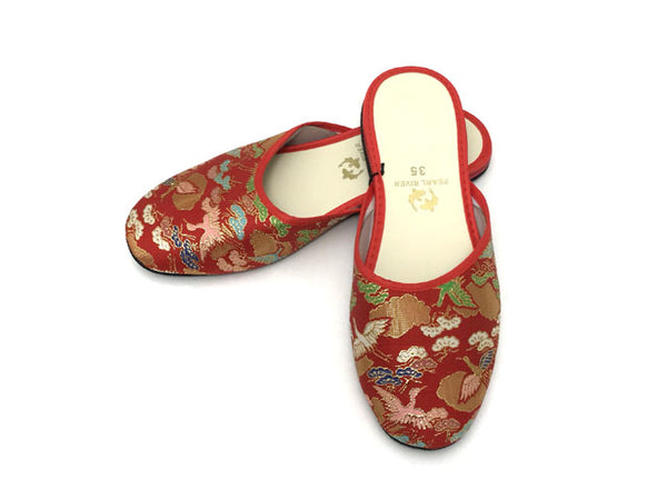 Golden Crane Brocade Slippers - For Girl