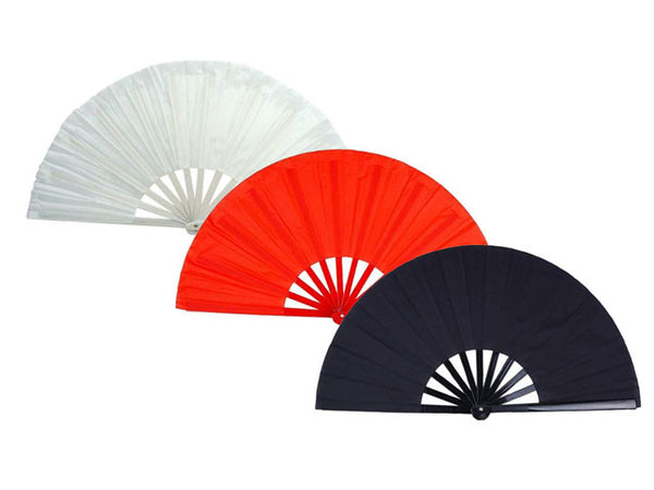 Solid Color Nylon Fabric Fan in White, Red and Black