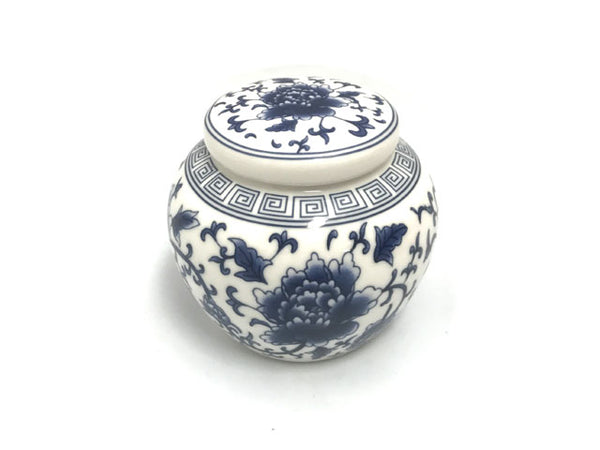 "3.5"" Tall Blue on White Peony Ceramic Ginger Jar"