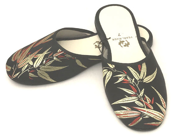 Bamboo Leaves Design Rayon Brocade Slipper