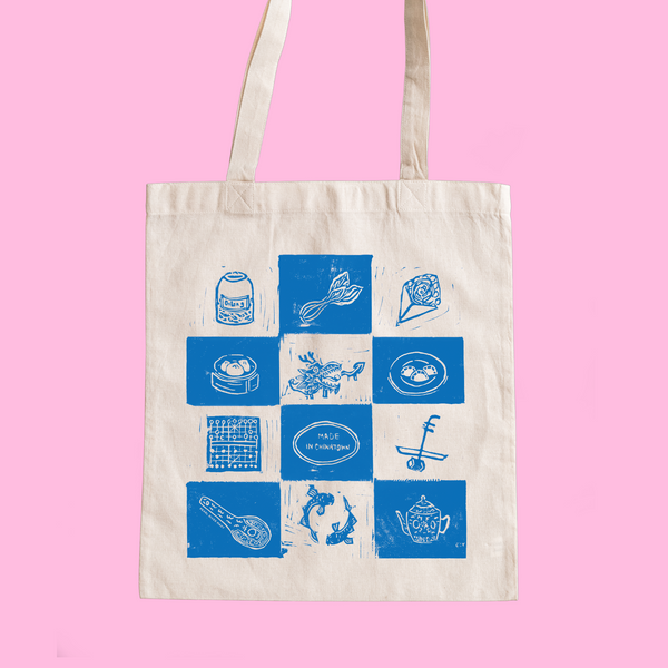 Blue and white Welcome to Chinatown tote bag