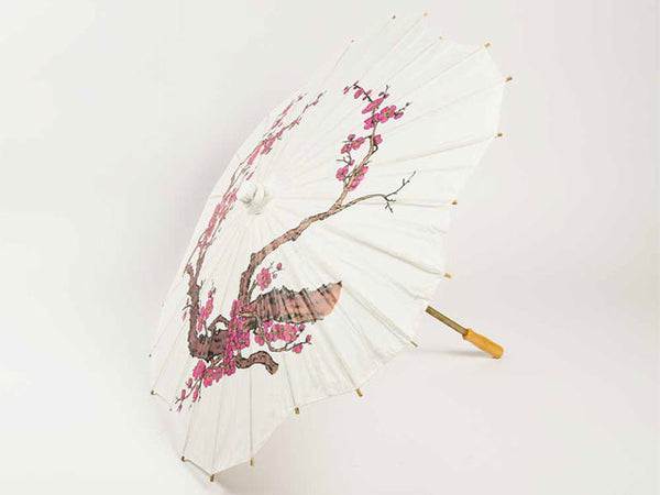 Scallop Shaped Cherry Blossom Printed Paper Parasol