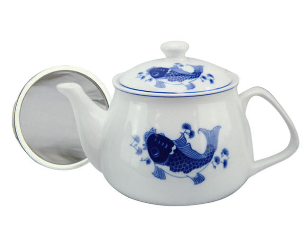 Modern Blue Fish Porcelain Teapot