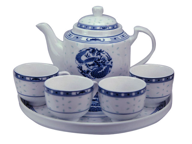 Blue on White Ceramic Tea Set with Tray - Out of Stock