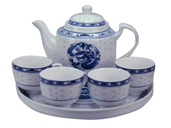 Blue on White Ceramic Tea Set with Tray