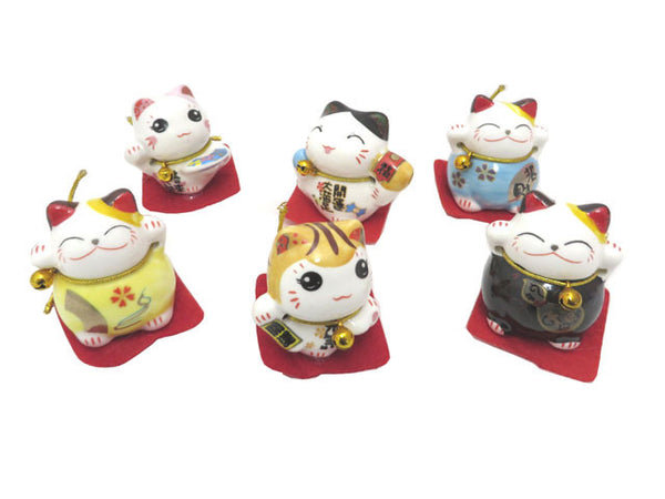 Mini Ceramic Lucky Cat - 1.5""