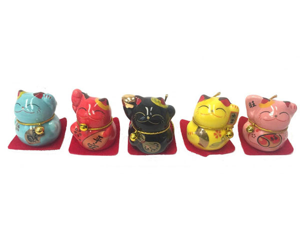 Mini Ceramic Lucky Cat (Solid Color)