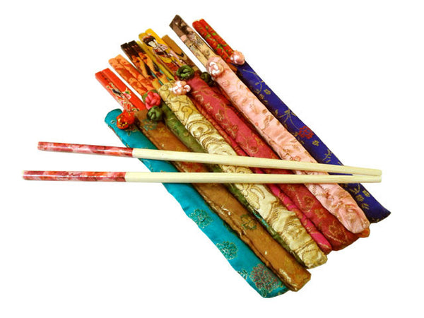 Fun and colorful Bamboo Chopsticks each with a Brocade Case