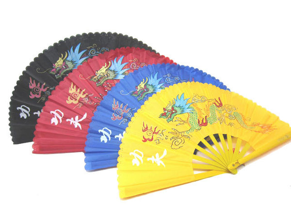 Colorful Dragon KungFu Fabric Fan - 13 in. Plastic Frame